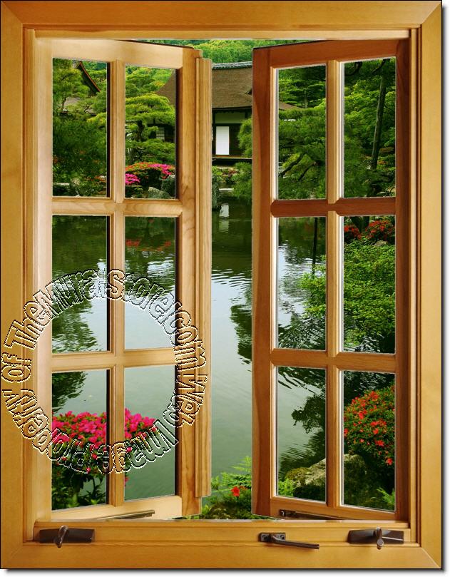 Exceptional Japanese Garden Window 1 Piece Peel U0026 Stick Canvas Wall Mural