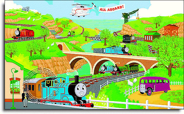 thomas tank engine wall mural. Black Bedroom Furniture Sets. Home Design Ideas