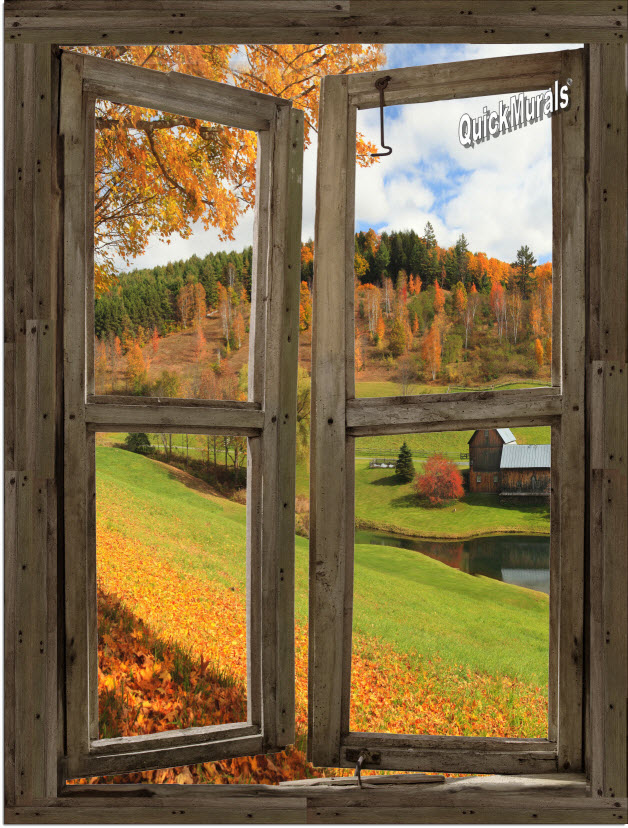 Vermont Cabin Window Peel Stick 1 Piece Canvas Wall Mural