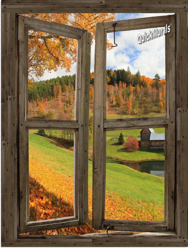 Vermont Cabin Window Peel Amp Stick 1 Piece Canvas Wall Mural