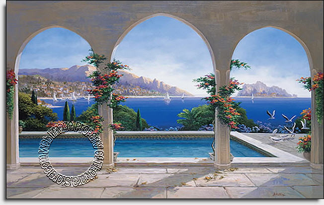Arch de sorrento wall mural for Environmental graphics wall mural
