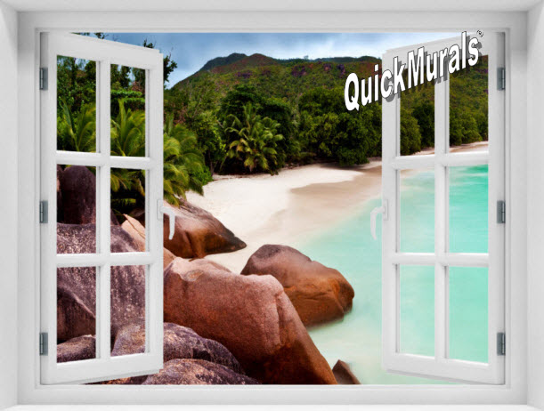 Barbados Island Window 1-Piece Peel & Stick Mural