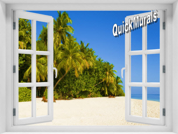 Boracay Island Window 1-Piece Peel & Stick Mural