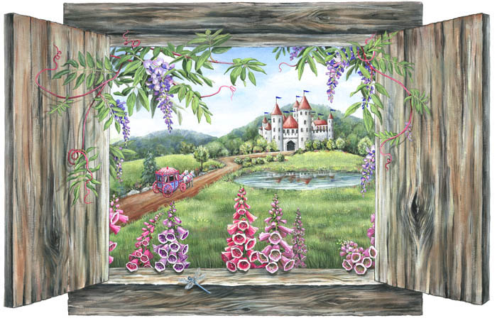 Castle and carriage peel and stick mural 30310 for Castle window mural
