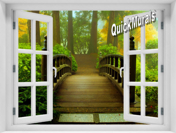 Enchanted Forest Window 1-Piece Peel & Stick Mural