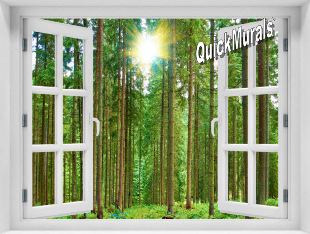 Morning Forest Window 1-Piece Peel & Stick Mural