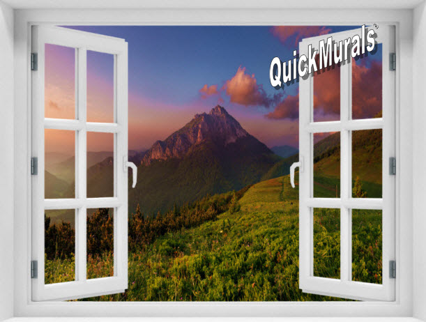 Mountain Sunrise #2 Window 1-Piece Peel & Stick Mural