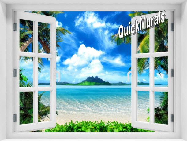 Mysterious Island Window 1-Piece Peel & Stick Mural