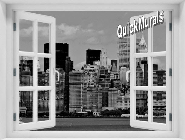 New York City Black and White #1 Window 1-Piece Peel & Stick Mural