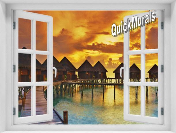 Sunset Resort Window 1-Piece Peel & Stick Mural