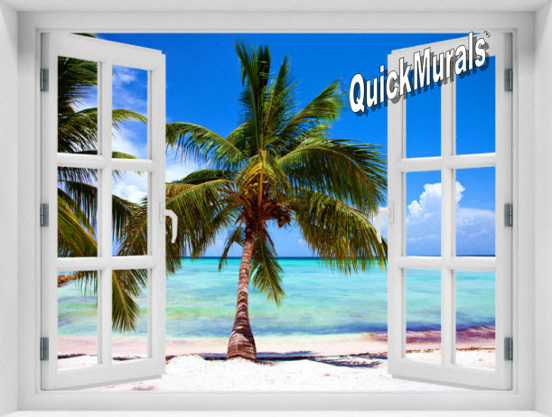 Tropical Beach Window 1-Piece Peel & Stick Mural