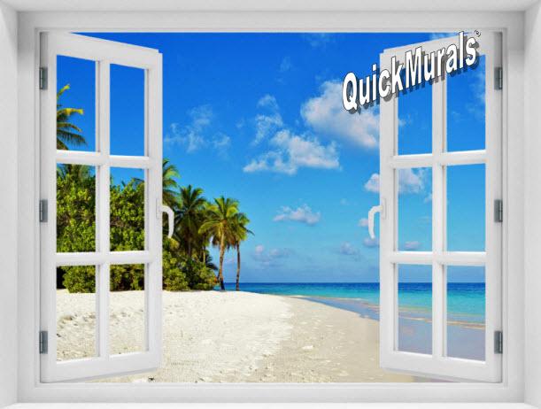 Tropical Escape Window 1-Piece Peel & Stick Mural