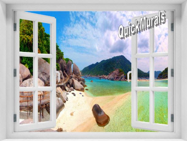 Tropical Island Window 1-Piece Peel & Stick Mural