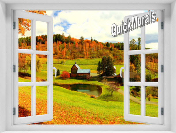 Vermont Farmhouse Window #1 One-Piece Peel & Stick Mural