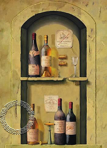 wine bottle niche wall mural. Black Bedroom Furniture Sets. Home Design Ideas