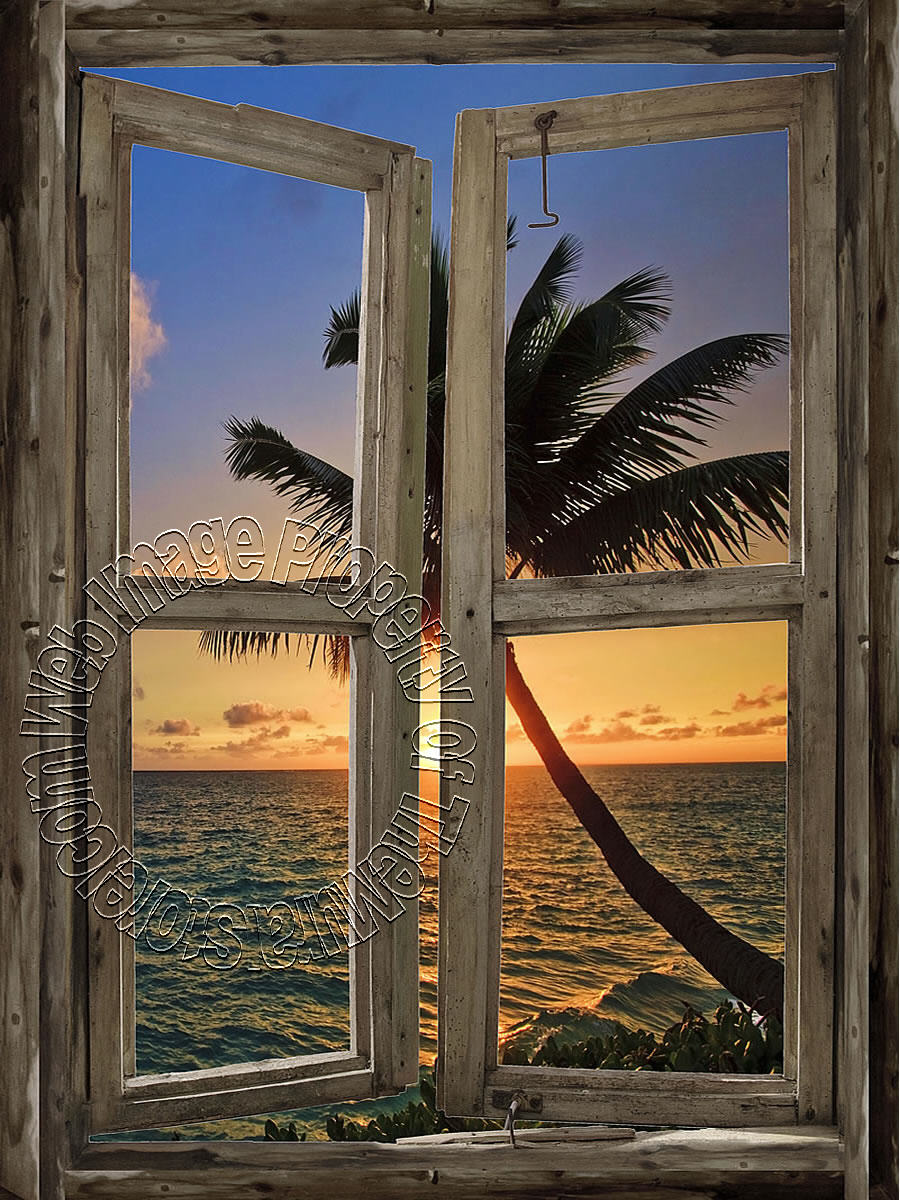 Beach Cabin Window Mural 6 Mid Size Wall Murals The