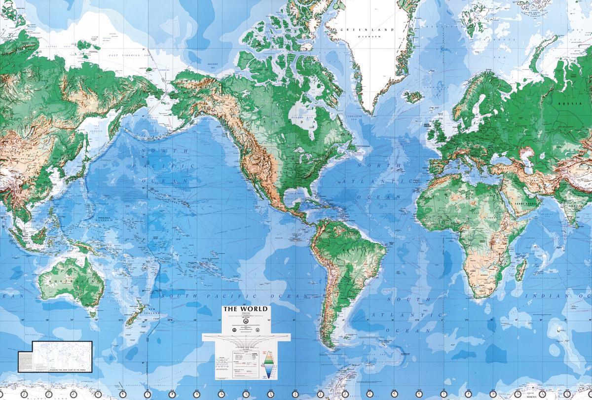 Laminated World Map Wall Mural |Full Size Large Wall