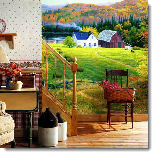 Golden Countryside Farm Scenic Wall Mural RA0107M