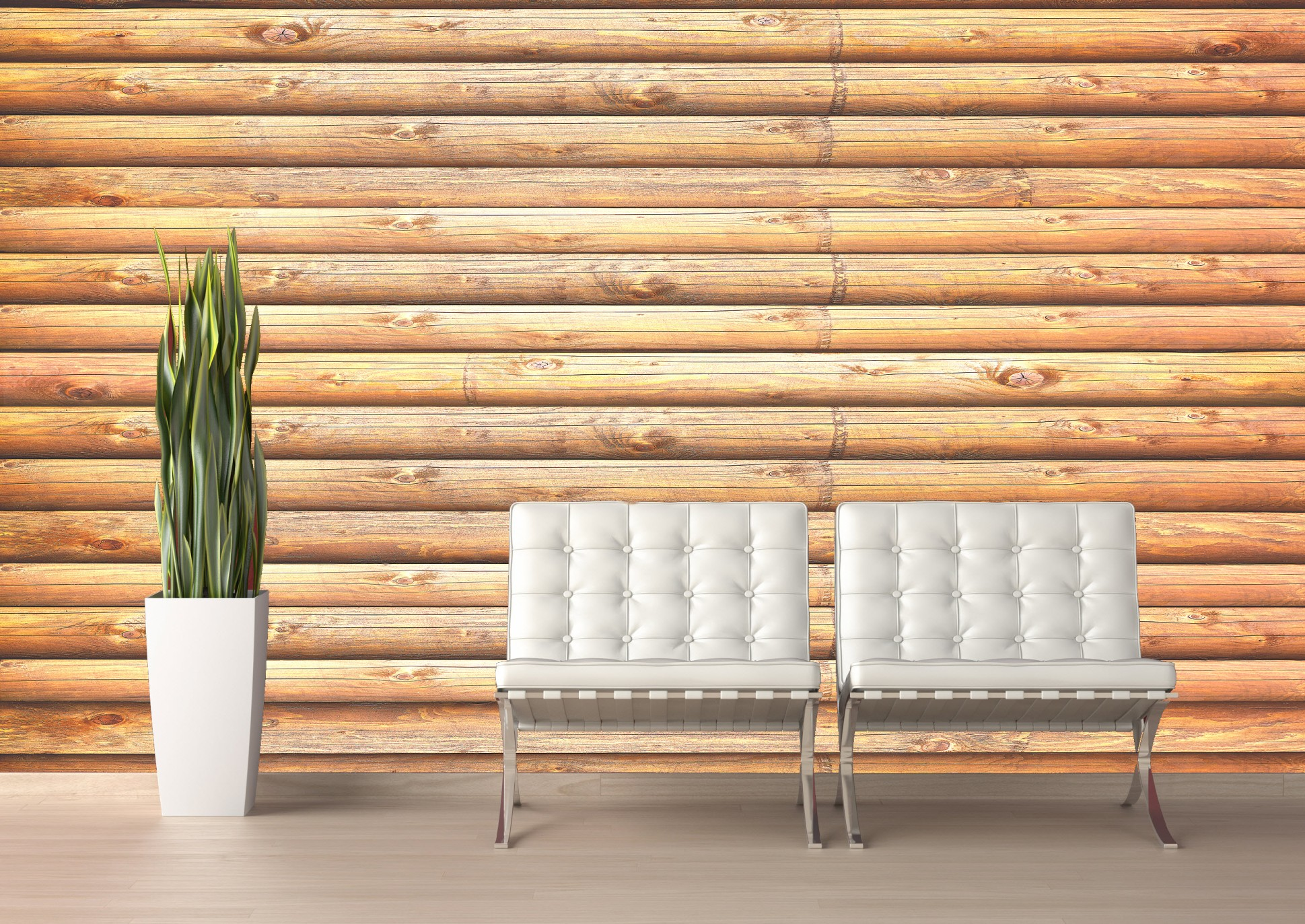 Log Cabin (Pine) CANVAS Peel and Stick Wall Mural	 Roomsetting