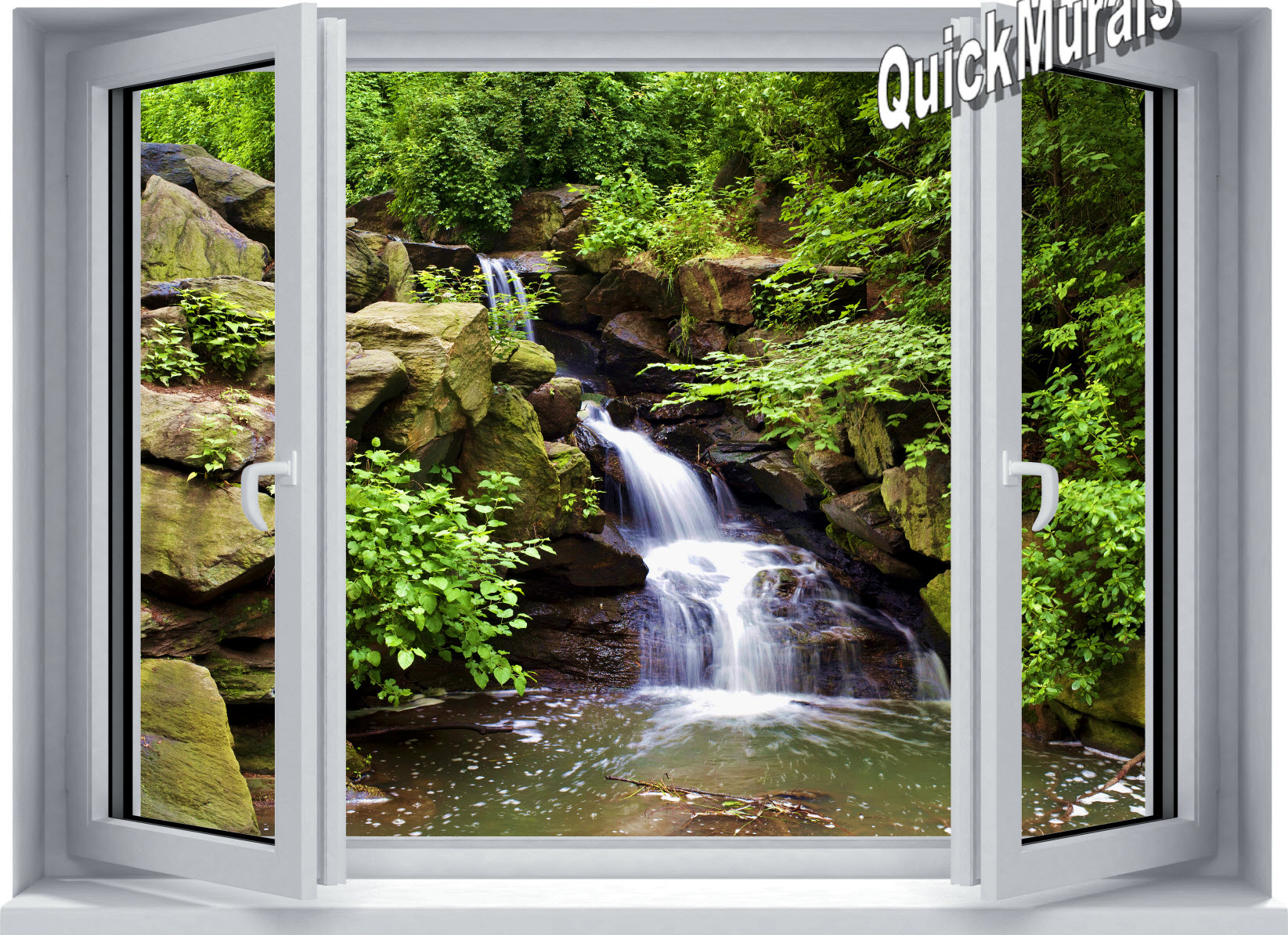 Mountain Waterfall Window 1-Piece Peel & Stick Mural Roomsetting