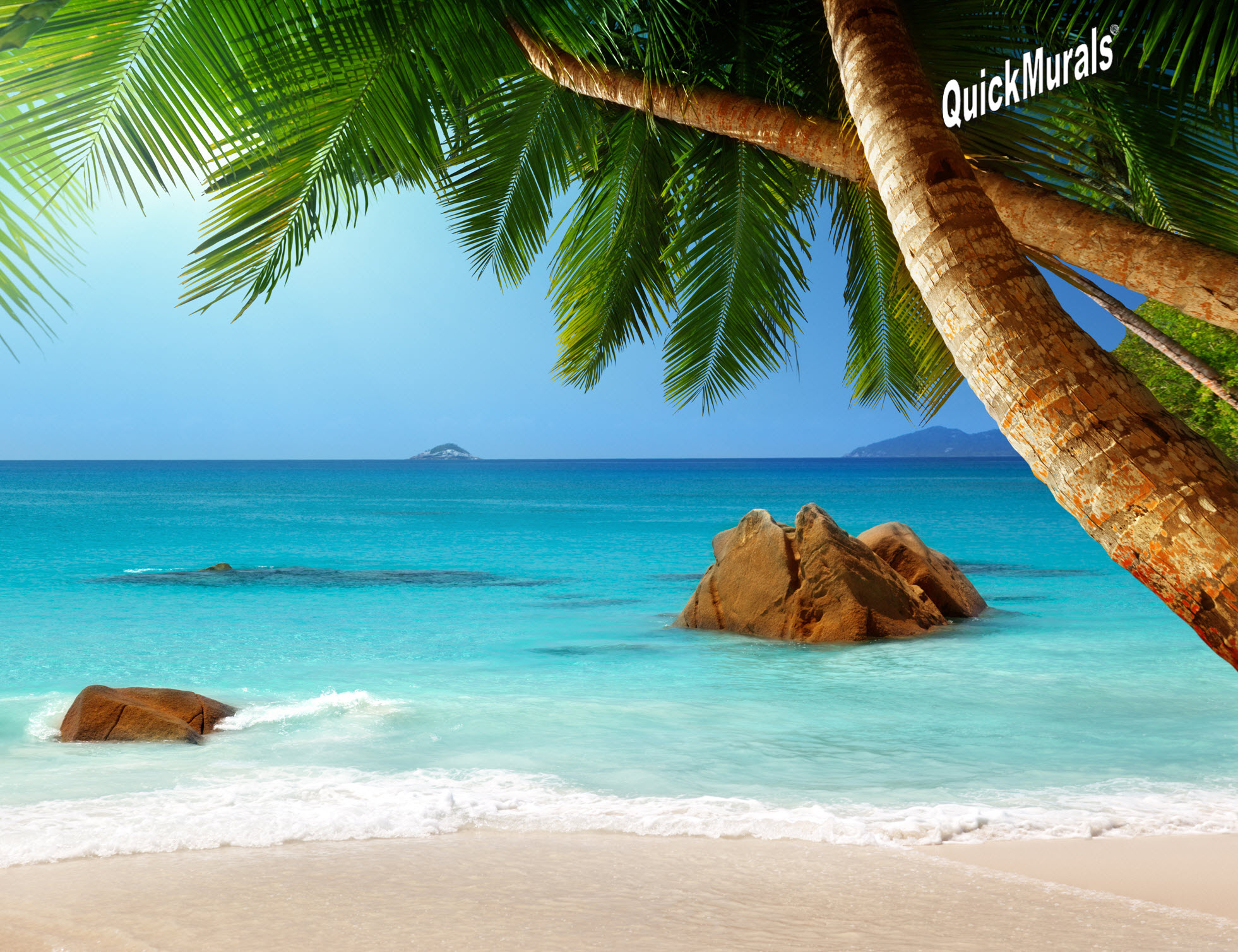 Secluded Beach Peel Stick Canvas Wall Mural Full Size Large Wall