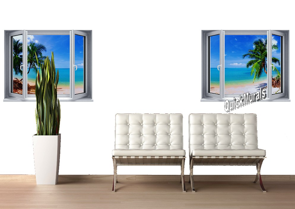 Tropical Palm Window 2 One Piece Canvas Peel Stick Wall Mural