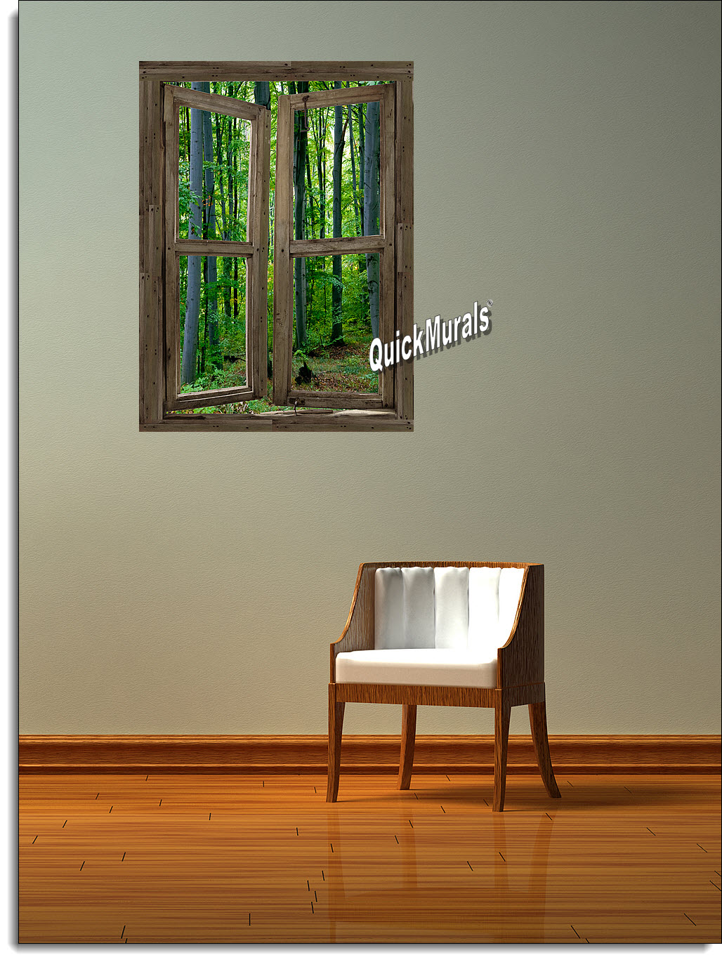 Woodland Cabin Window Peel & Stick (1 piece) Canvas Wall Mural Roomsetting
