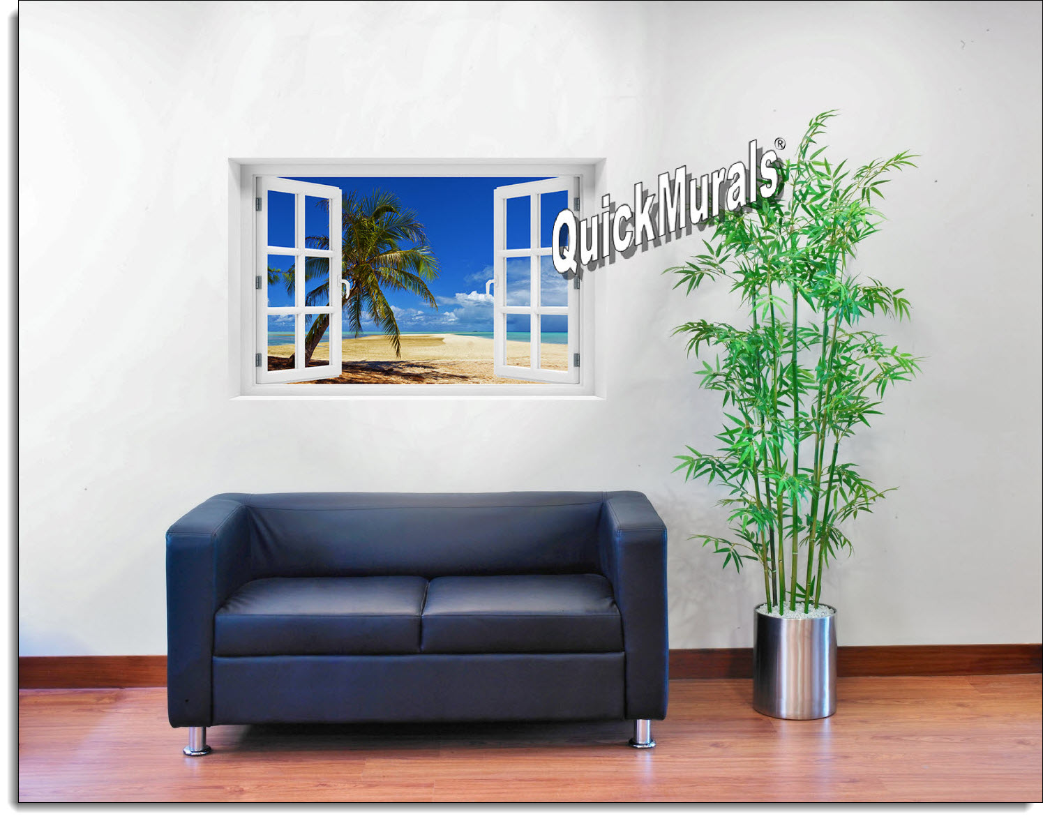African Beach Window Mural Roomsetting