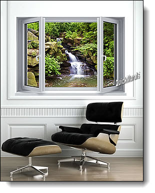Mountain Waterfall Window 1-Piece Peel & Stick Mural