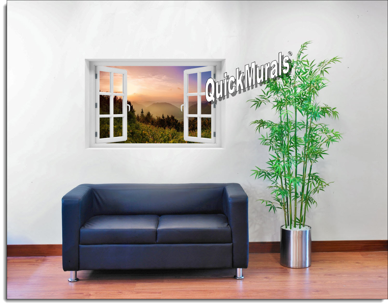Mountain Sunrise #1 Window Mural Roomsetting