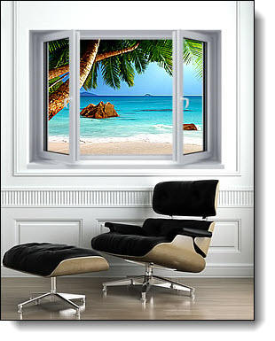 Secluded Beach Window 1-Piece Peel & Stick Canvas Mural