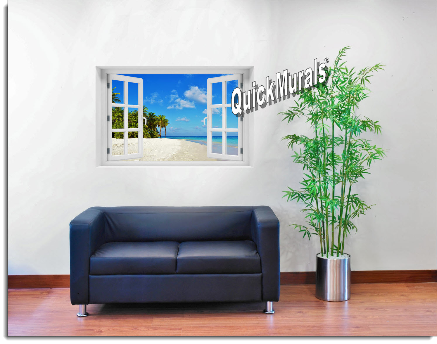 Tropical Escape Window Mural Roomsetting