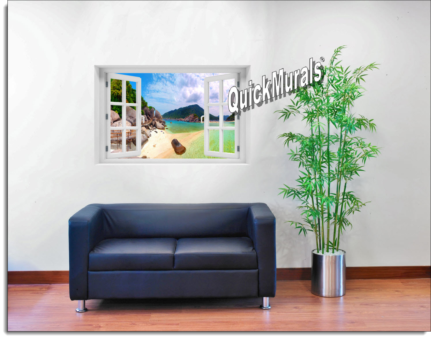 Tropical Island Window Mural roomsetting
