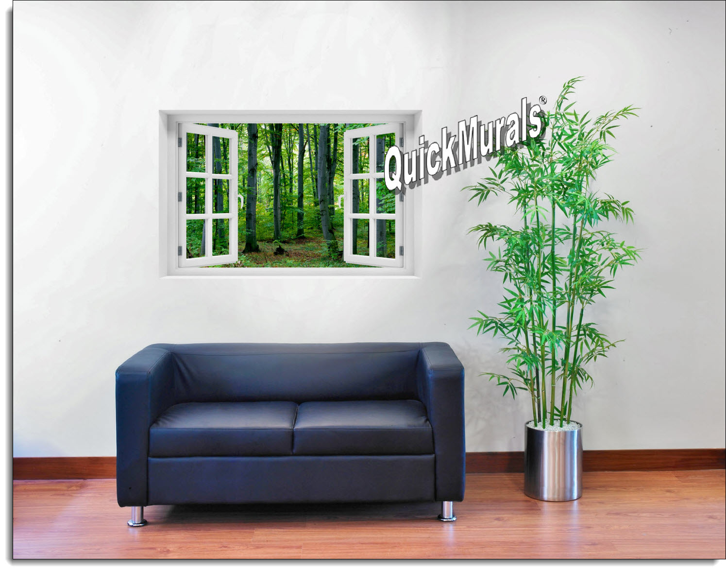 Woodland Forest Window Mural Roomsetting