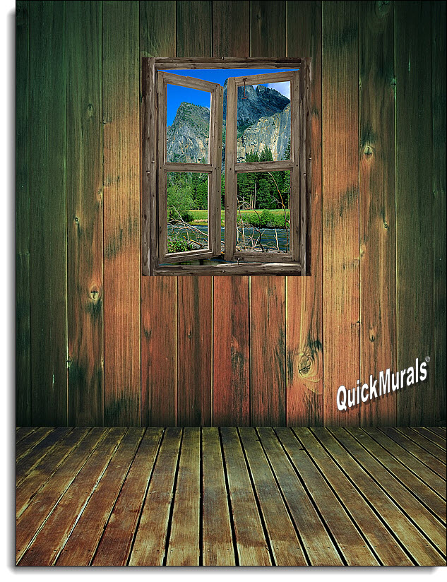 Mountain Cabin Window Mural 3 Dt11299 Mid Size Wall