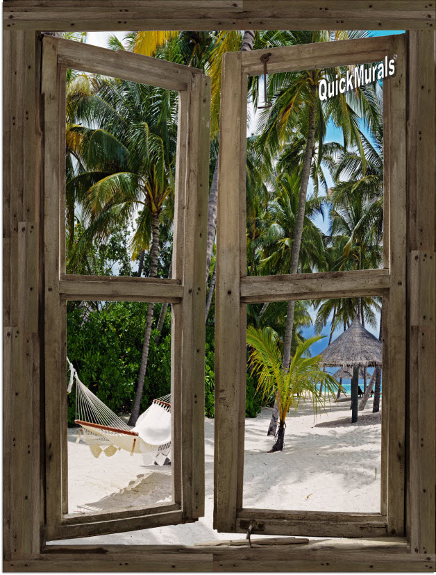Beach Cabin Window Mural #11 One-piece Peel and Stick Canvas Wall Mural