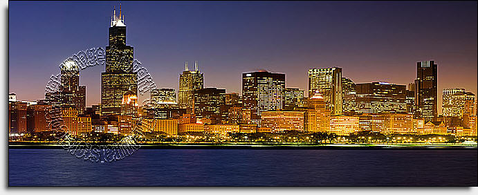 Chicago Skyline L Stick Canvas