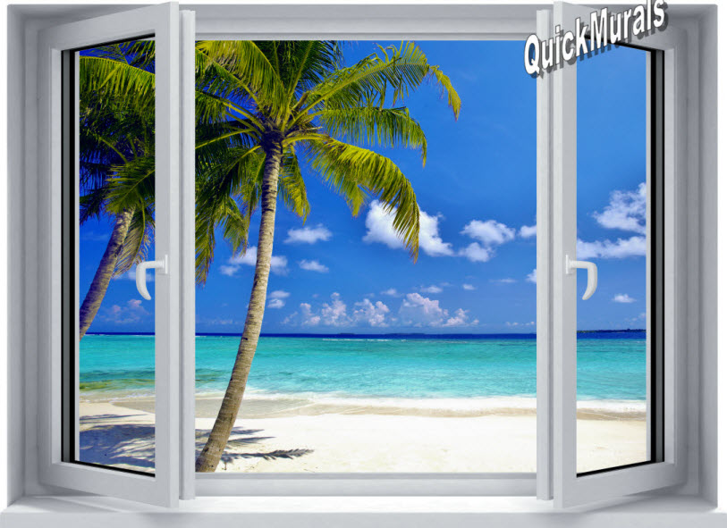 Tropical Ocean Window 1-Piece Peel and Stick Canvas Mural