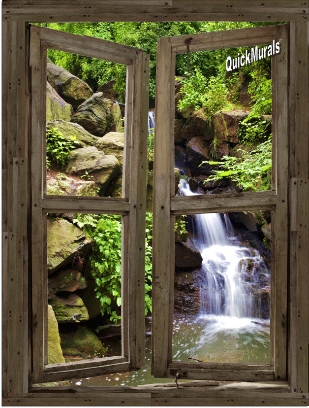 Waterfall Cabin Window Mural #3 One-piece Peel and Stick Canvas Wall Mural