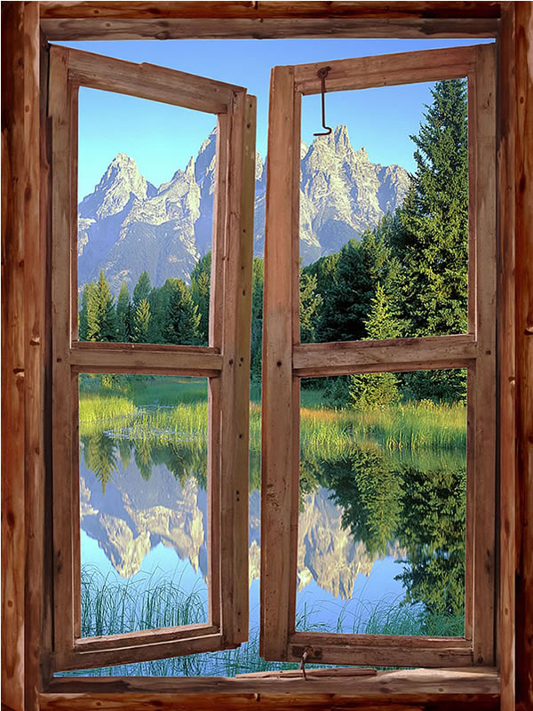 Mountain Cabin Window Mural #1 One-piece Peel & Stick Canvas Wall Mural