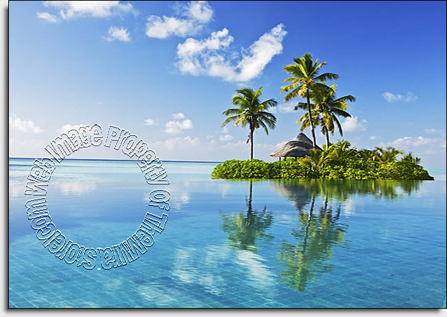 Paradise Island  One-piece Peel & Stick Canvas Wall Mural