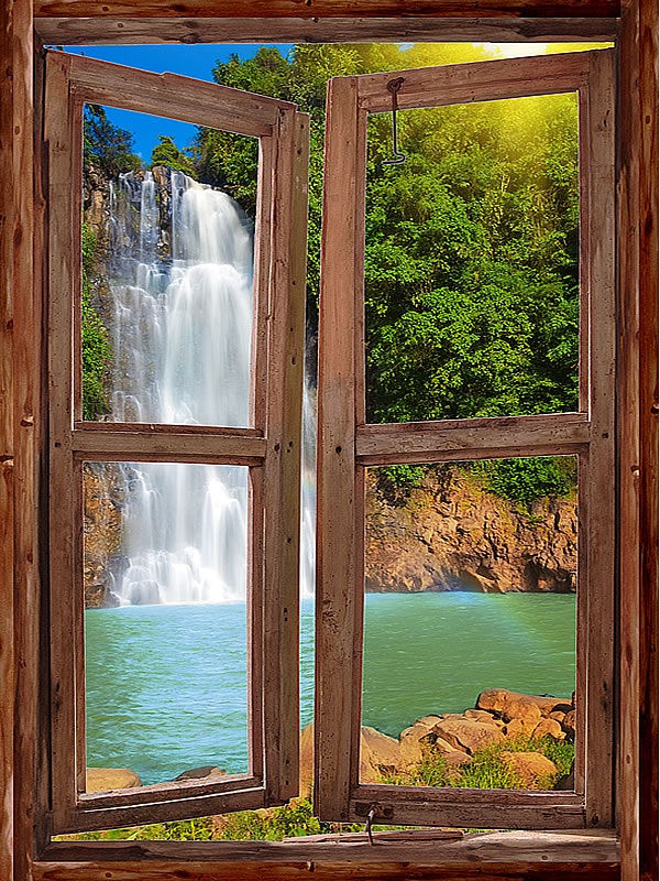 Waterfall Cabin Window Mural #1 One-piece Peel & Stick Canvas Wall Mural