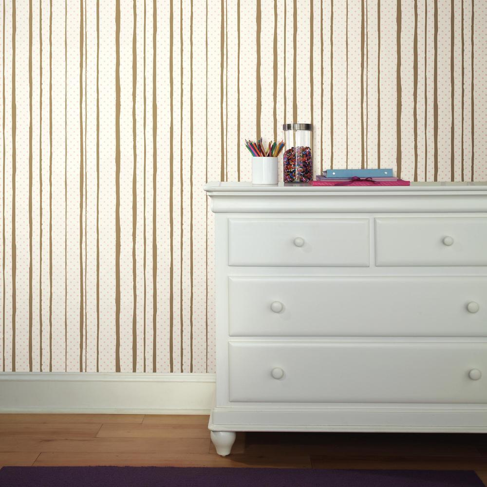 All Mixed Up Pink Gold Peel Stick Wallpaper