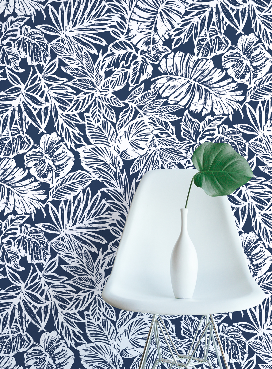 Tropical Leaf Blue Peel Stick Wallpaper Peel And Stick Decals