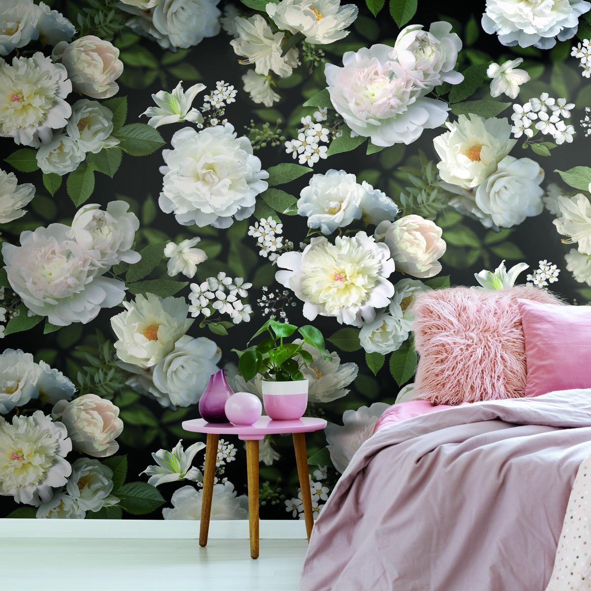 Black Photographic Floral Peel Stick Wallpaper Mural Wallpaper