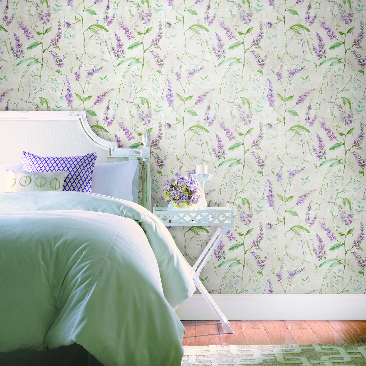 Purple Floral Sprig Peel Stick Wallpaper Wallpaper And Borders
