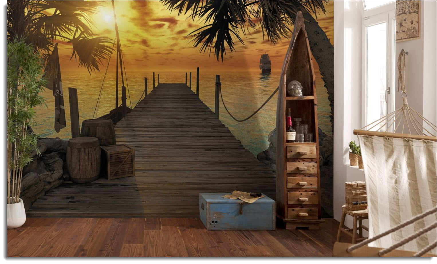 treasure island wall mural roomsetting
