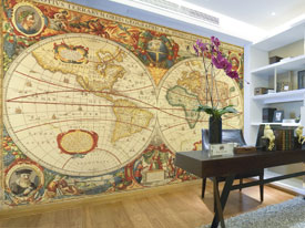 Antique World Map Wall Mural C873