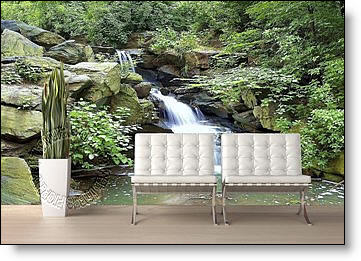 Mountain Waterfall Peel & Stick Canvas Wall Mural