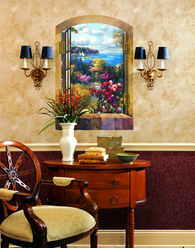 Garden by The Sea Wall Mural Room Setting
